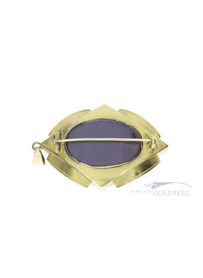 14k antique pendant / brooch with diamond