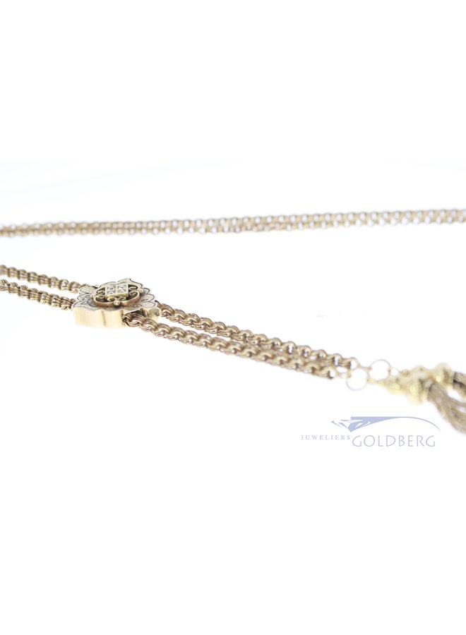 Sixties 14k slider necklace with rose cut diamond