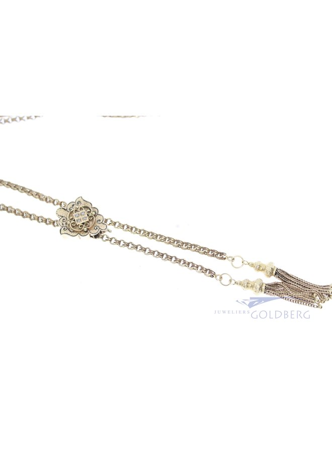 Sixties 14k schuifketting met roos geslepen diamant
