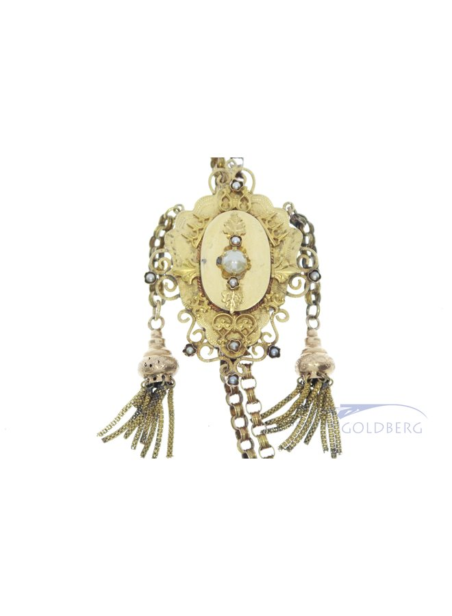 antique 14k slide chain with pearls
