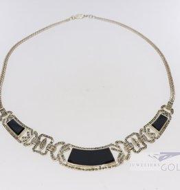 Vintage silver art deco statement necklace