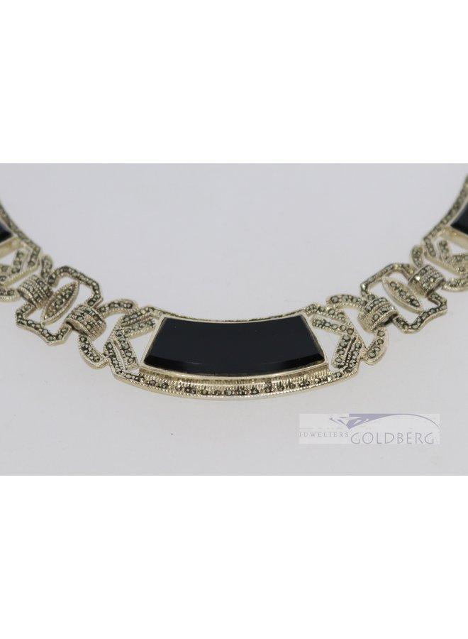 Vintage zilveren art deco statement collier