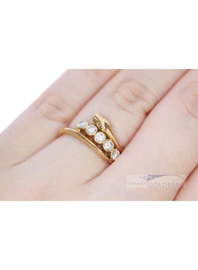 18k gold vintage snake ring with 5x diamond