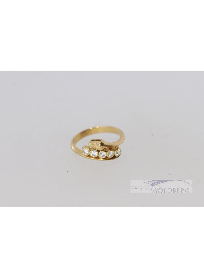 18k gouden vintage slangenring met 5x diamant