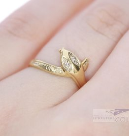 14k geelgoud vintage slangenring met diamant