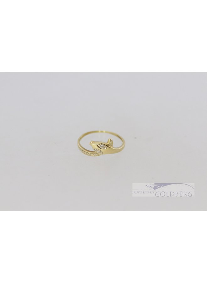 14k yellow gold vintage snake ring with diamond