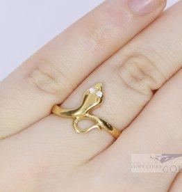 Vintage 18 carat yellow gold snake ring with diamond
