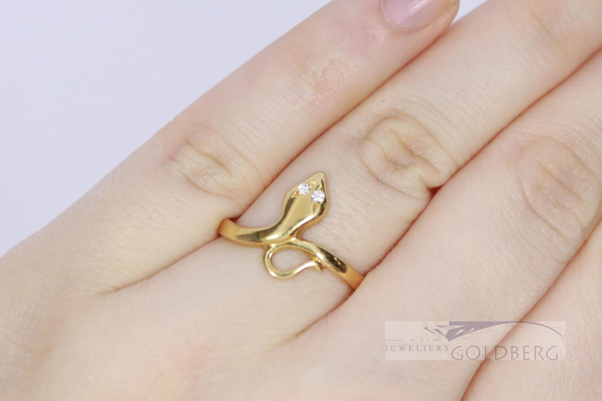 Vintage 18k geelgouden slangenring met diamant