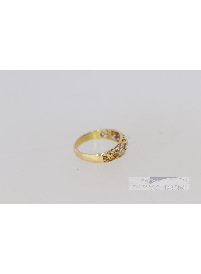 18k yellow gold openwork fantasy ring with diamond