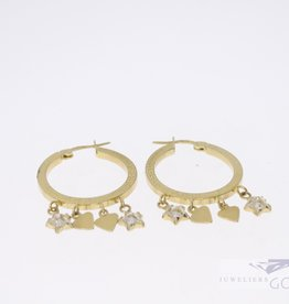 14k gold vintage creoles with charms