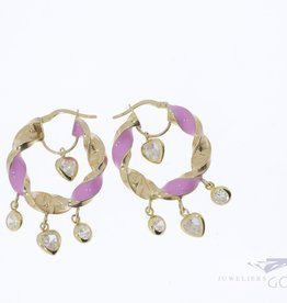 14k yellow gold curled creoles with pink enamel and zirconia