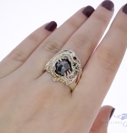 925 silver robust dragon ring with hematite