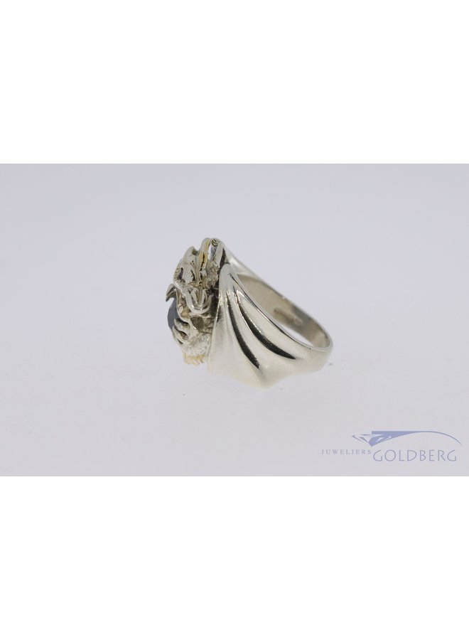 925 silver robust dragon ring with rotating hematite