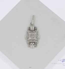 Unieke art deco zilveren 925 hanger met diamant