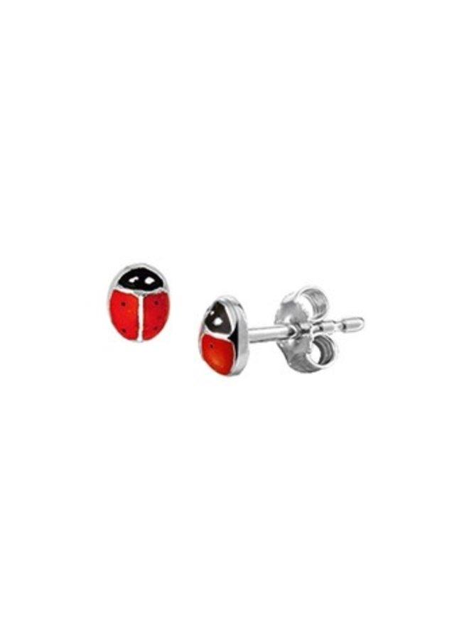 Cute silver ladybug earstuds rhodium coated