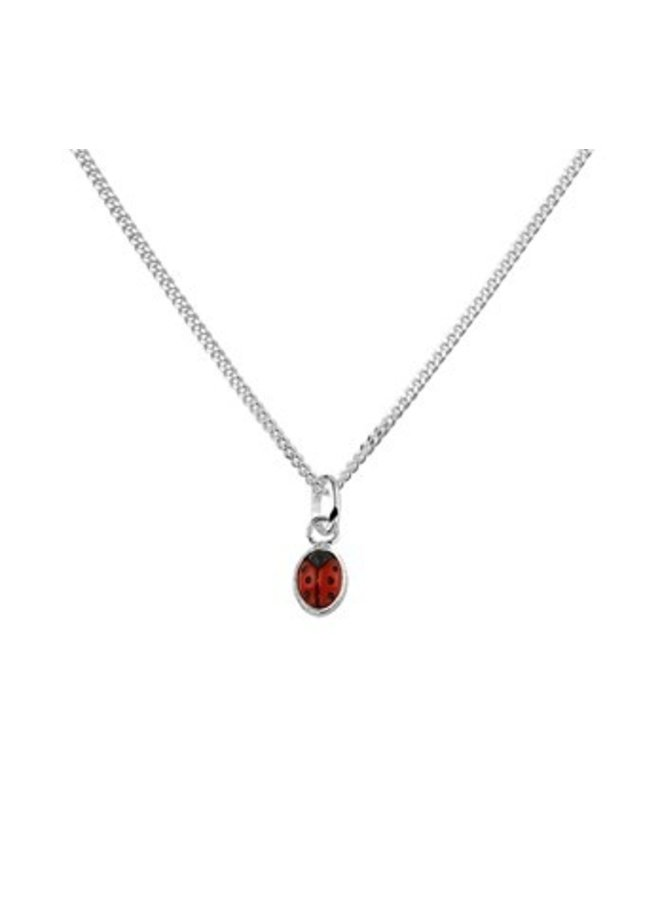 Silver childrens necklace with ladybug