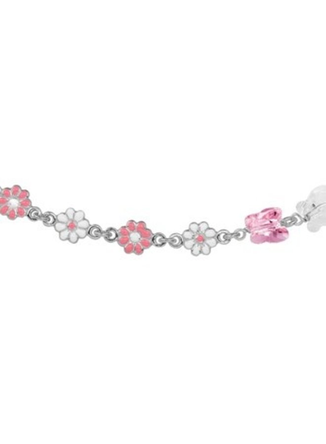 Silver children's necklace pink flowers and butterflies