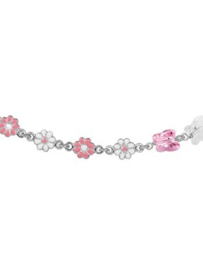 Zilveren kinder ketting roze bloemen en vlinders