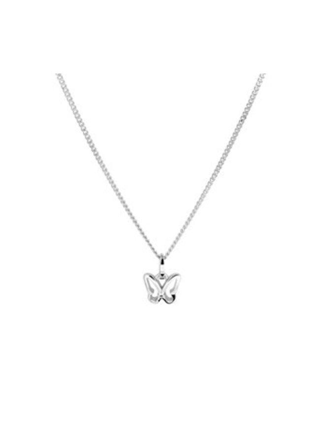 korte zilveren ketting met vlinder hanger