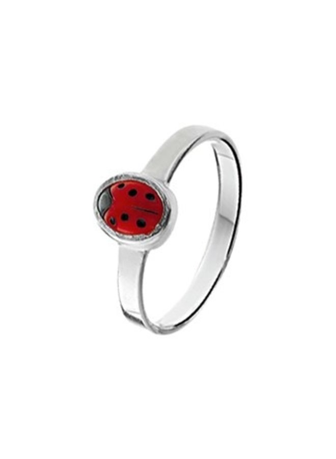 Silver children's ring with ladybug