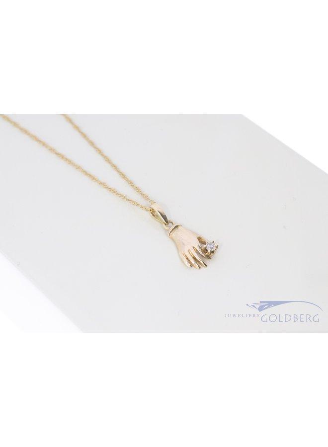 18k mystieke hand hanger met diamant
