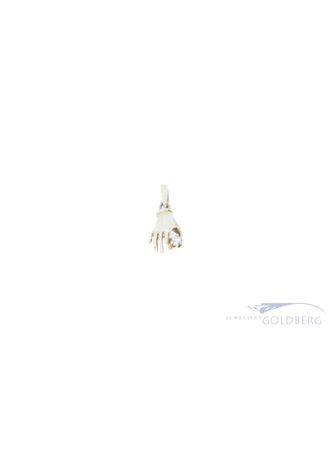14k mystieke hand hanger met diamant