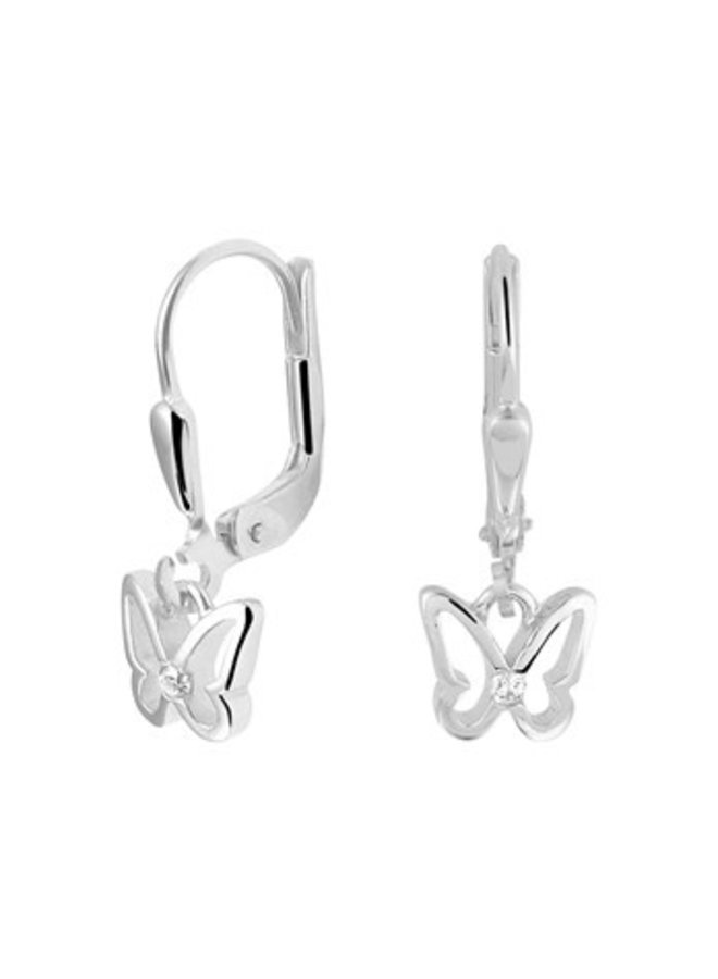 silver child / teen earrings with butterflies