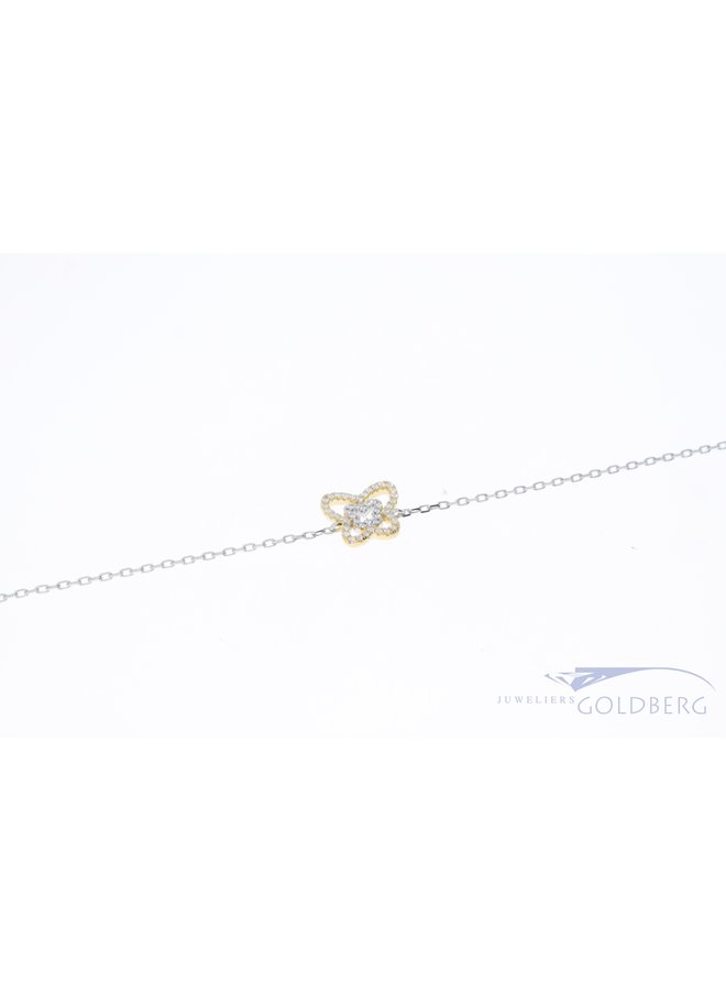 Silver premium bracelet with gold-plated butterfly
