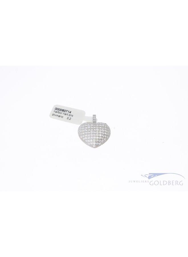 Luxe zilveren hanger hart met zirkonia