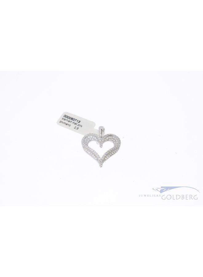 luxe zilveren open hart hanger bezet met zirkonia