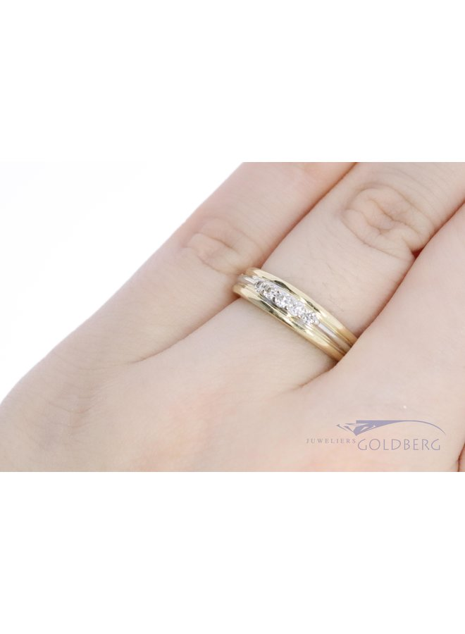 bi-color 14k gold ring with diamond