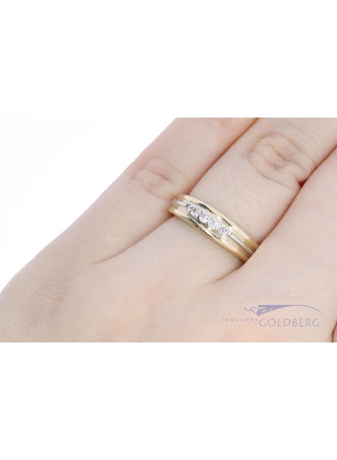 bi-colour 14k gouden ring mat diamant