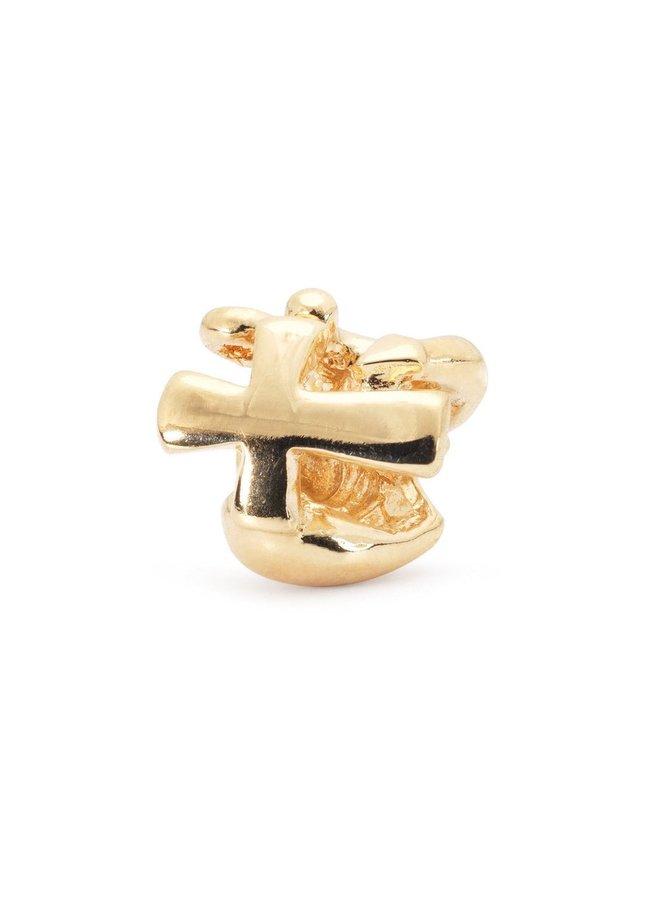Trollbead Faith, Hope & Charity Bead, Gold