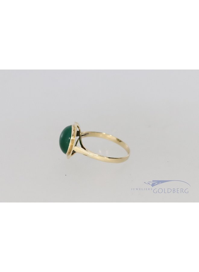 14k gold set with calcedony
