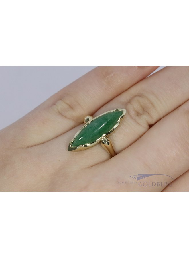 14k ring with marquise-shaped jade