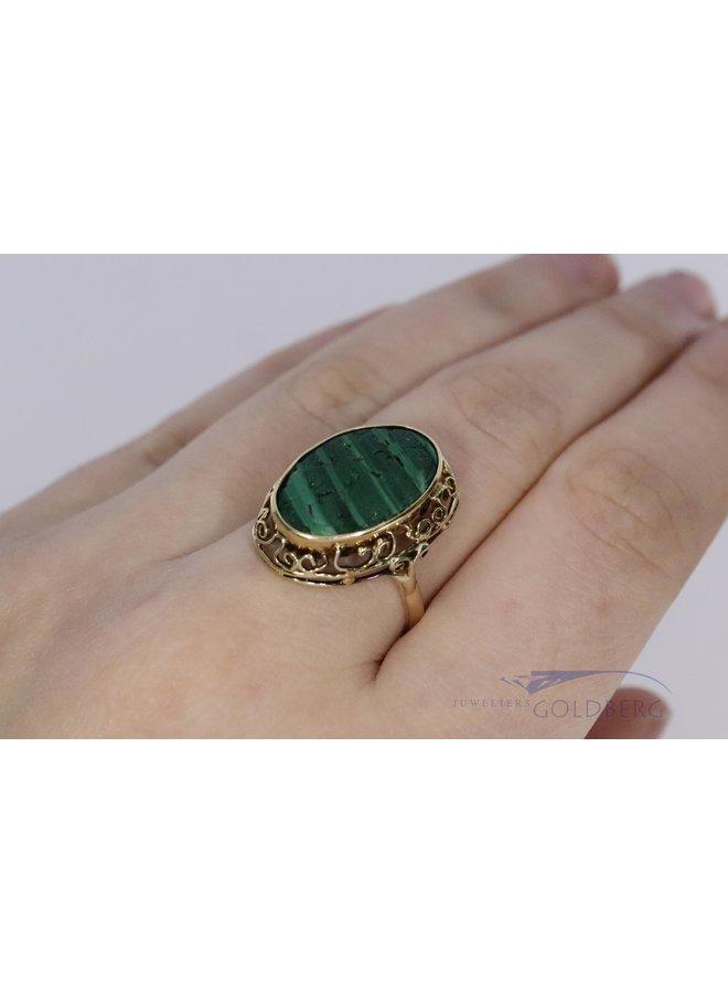 14k vintage ring with malachite