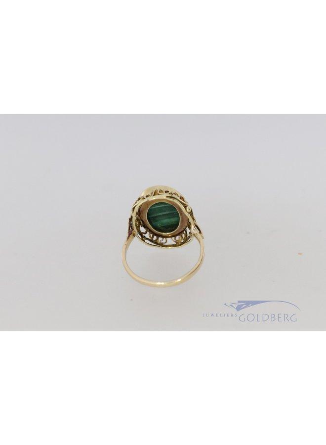 14k vintage ring met malachiet