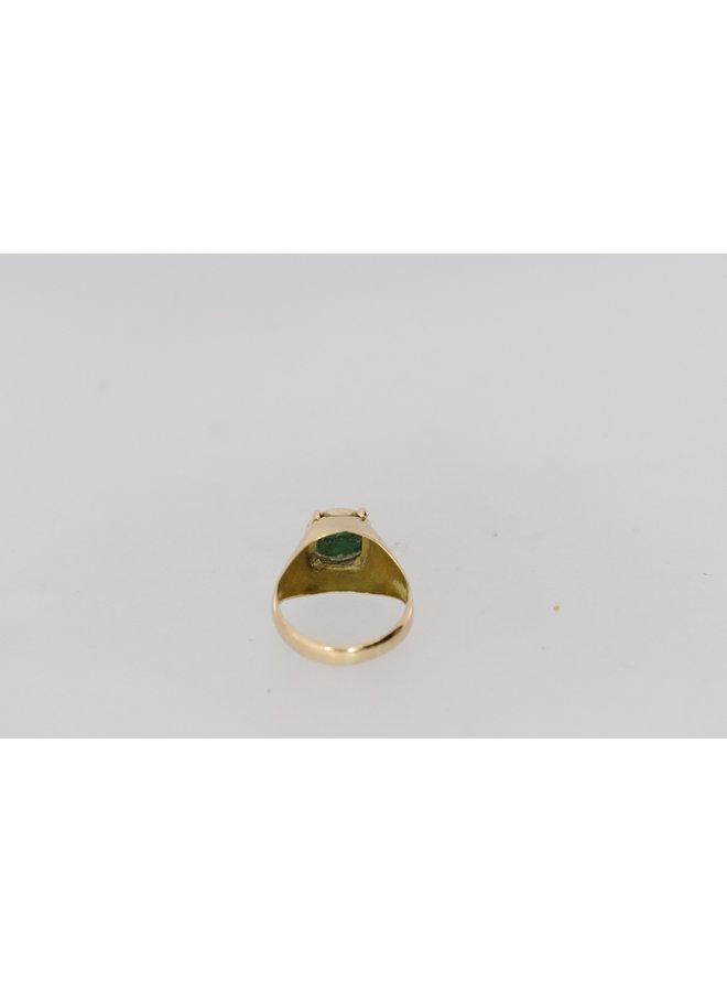 18k pink ring with malachite