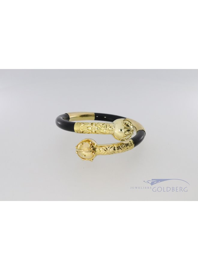 14k Surinaamse armband met zwart kunststof