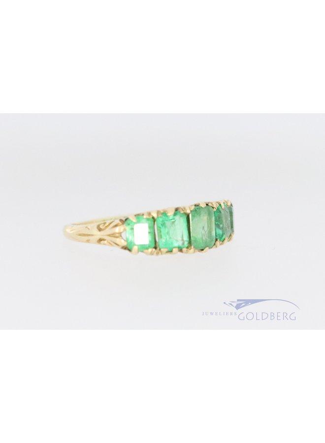 Vintage 18k ring met smaragd