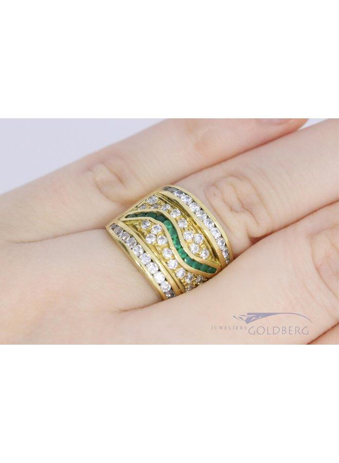 Moderne 18k  brede ring met zirkonia