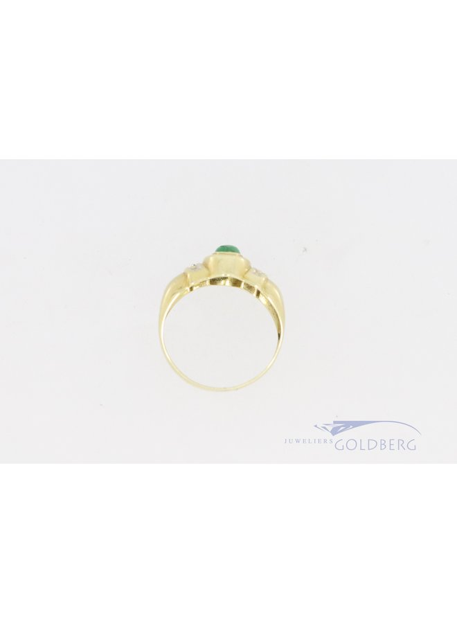 14k gold ring with diamond and cabochon emerald