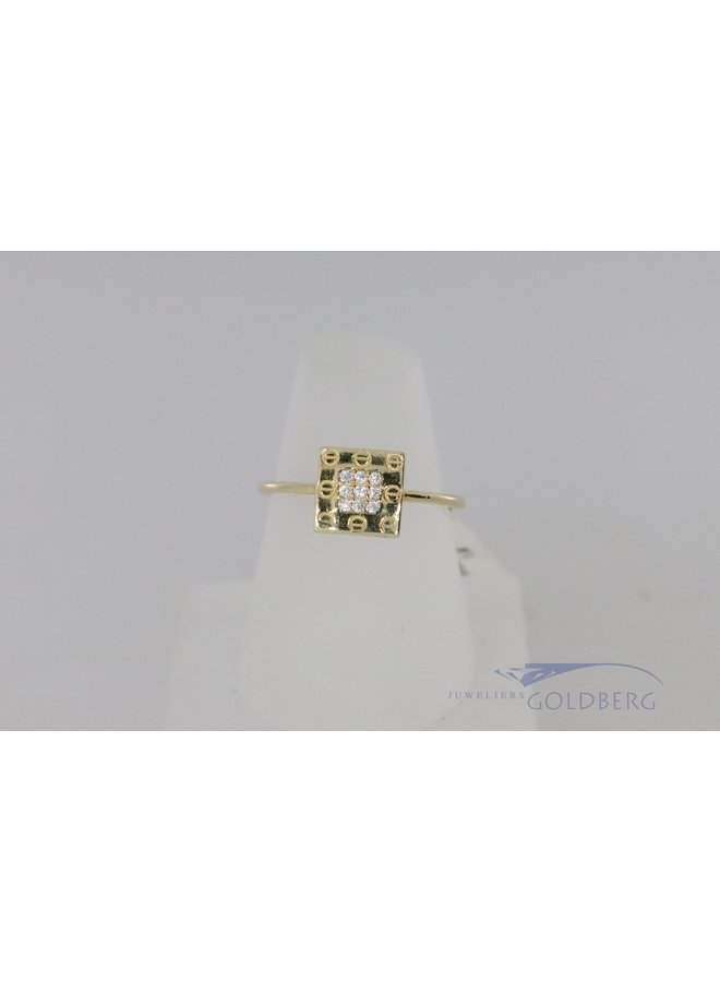modern 14k ring with zirconia