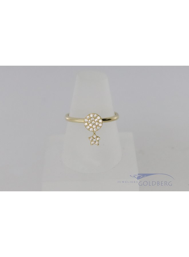 modern 14k ring with star pendant