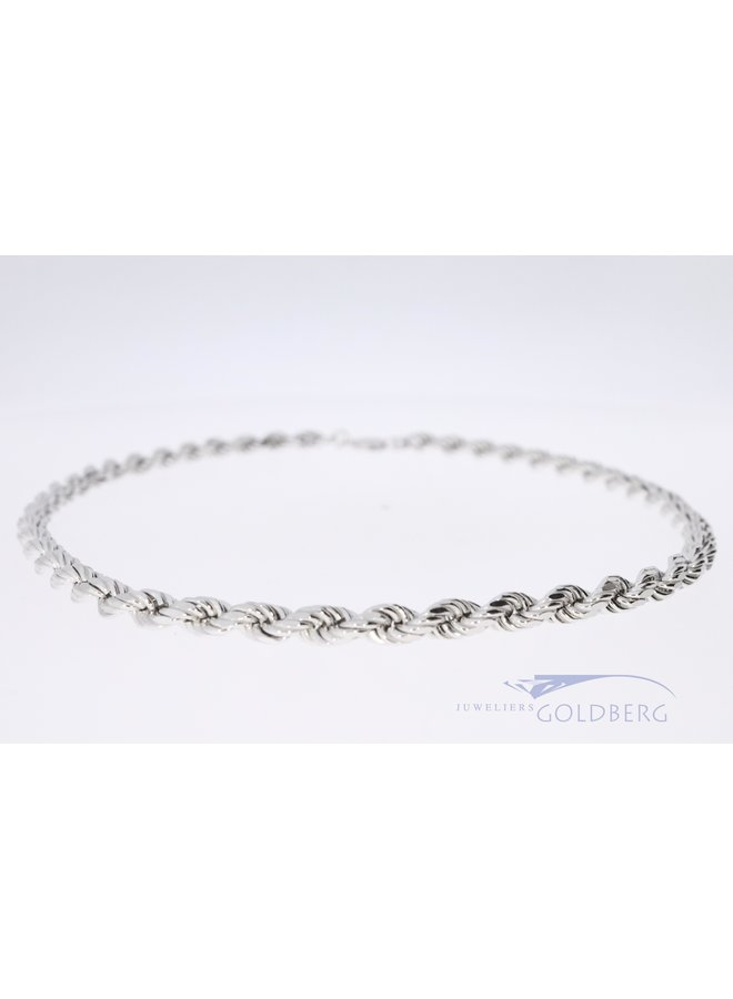 silver necklace rope link 45 cm