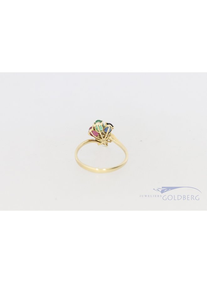 kleurrijke 14k gouden vintage ring met 4 edelstenen.