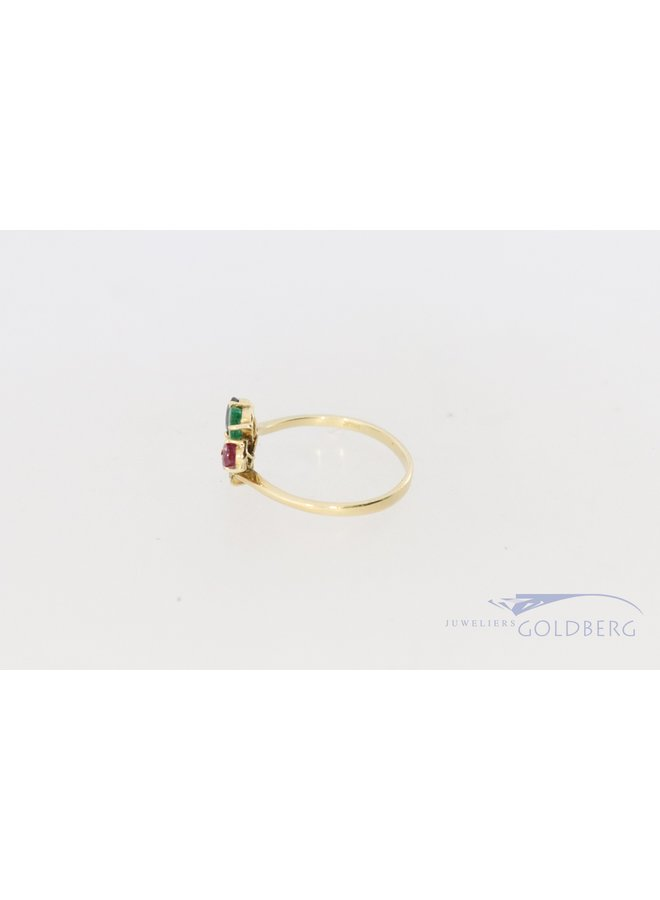 colorful 14k gold vintage ring with 4 gemstones.