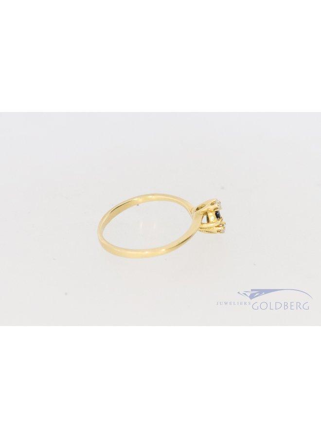18k geelgouden design ring met diamant en saffier