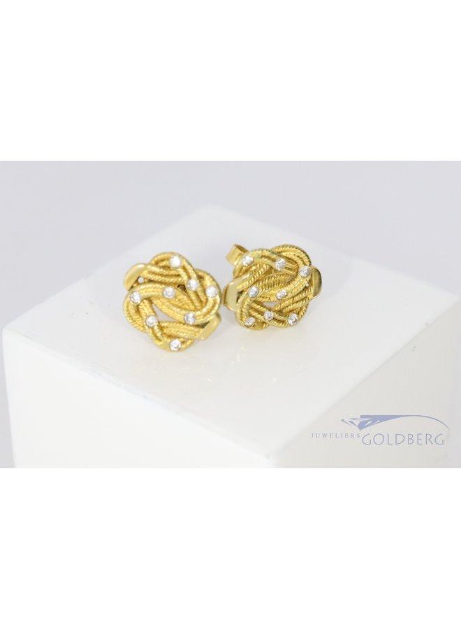 18 carat gold carpet beater ear studs with zirconias