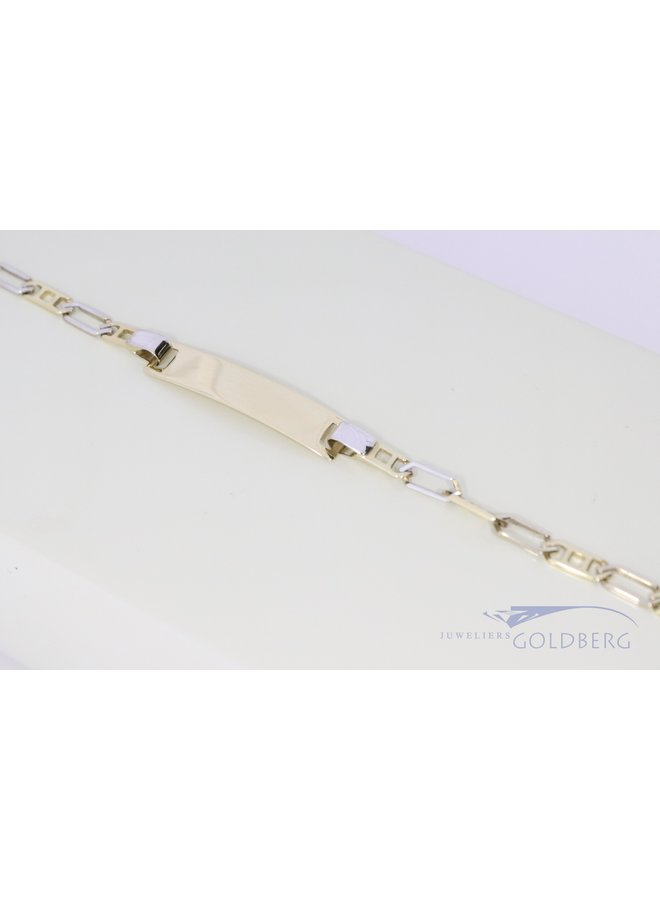 luxe kids name bracelet bi-color 14k gold